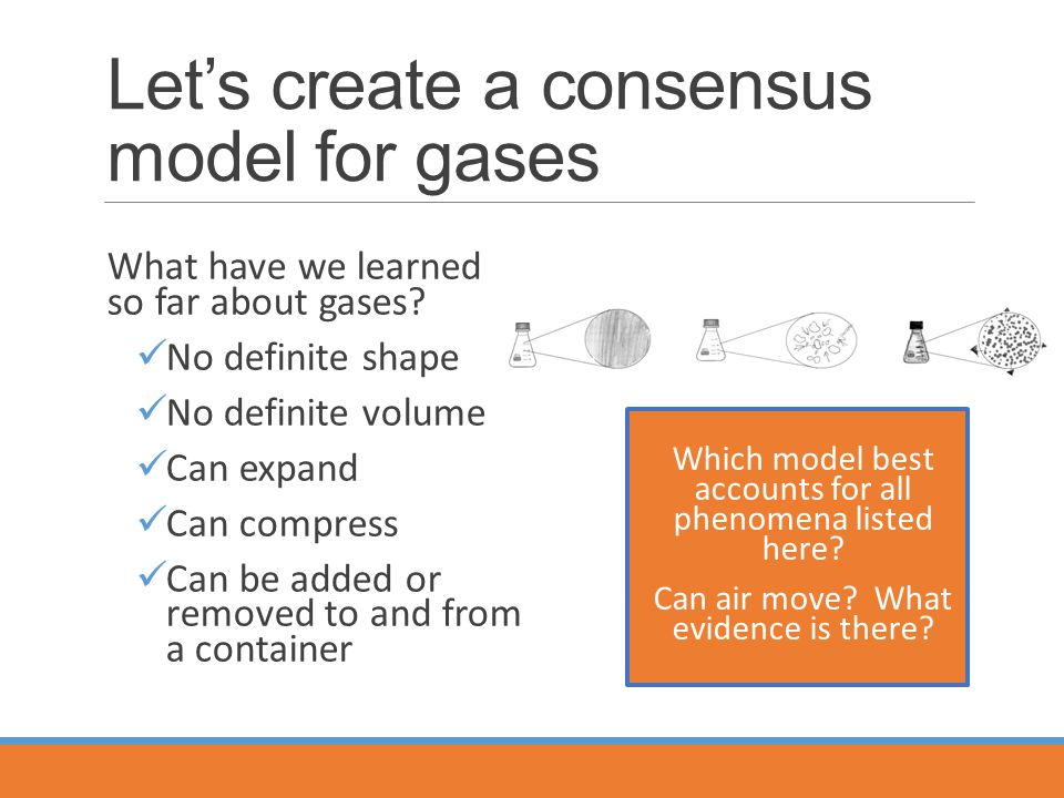 Let's create a consensus model for gases What have we learned so far about gases.