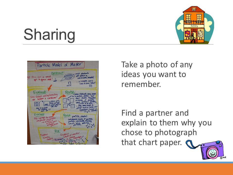 Sharing Take a photo of any ideas you want to remember.