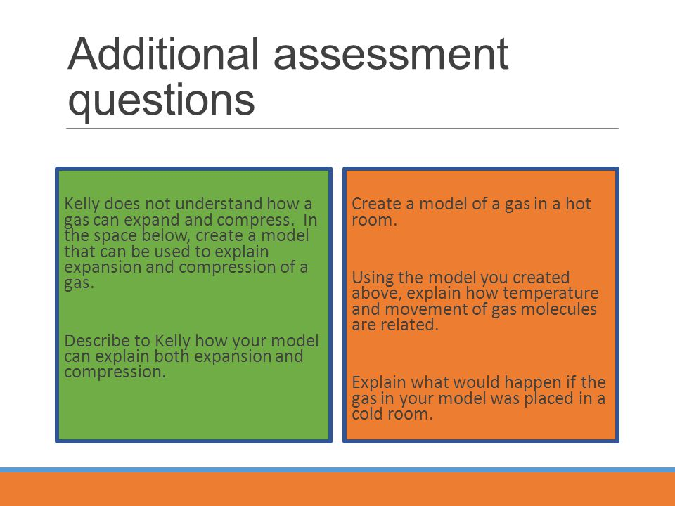 Additional assessment questions Create a model of a gas in a hot room.