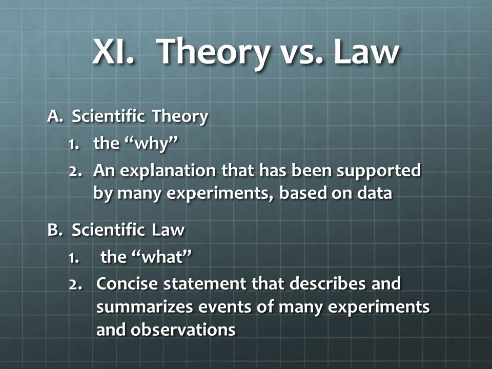 XI. Theory vs.