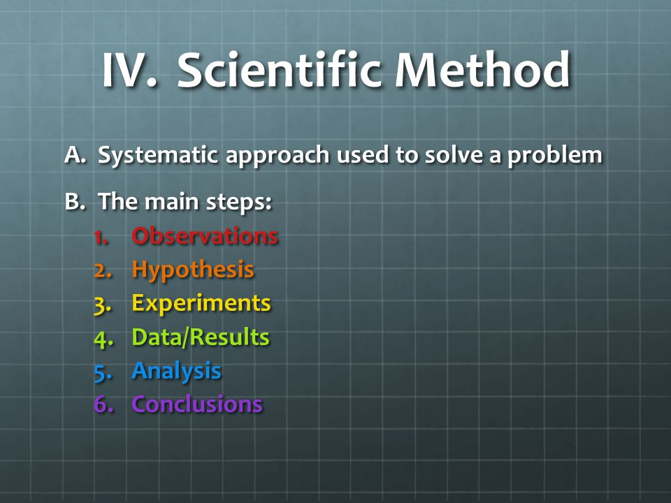 IV.Scientific Method A.Systematic approach used to solve a problem B.The main steps: 1.Observations 2.Hypothesis 3.Experiments 4.Data/Results 5.Analysis 6.Conclusions