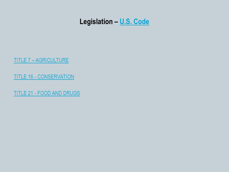 Legislation – U.S. CodeU.S.