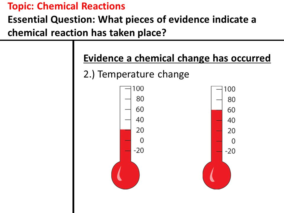 Topic: Chemical Reactions Essential Question: What pieces of evidence indicate a chemical reaction has taken place.