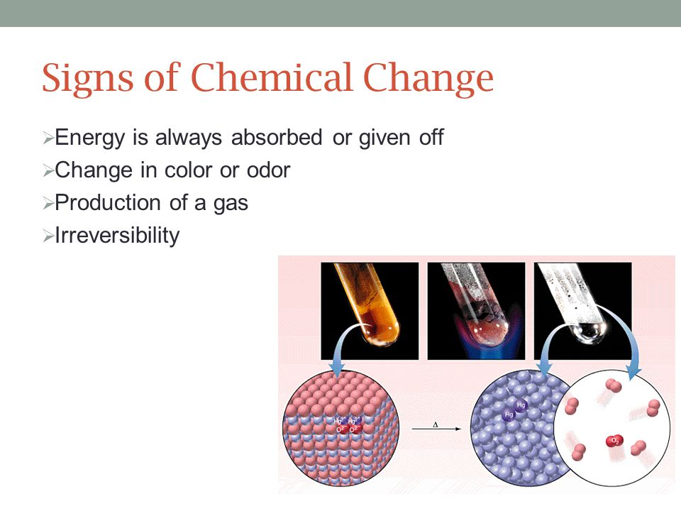 Signs of Chemical Change  Energy is always absorbed or given off  Change in color or odor  Production of a gas  Irreversibility