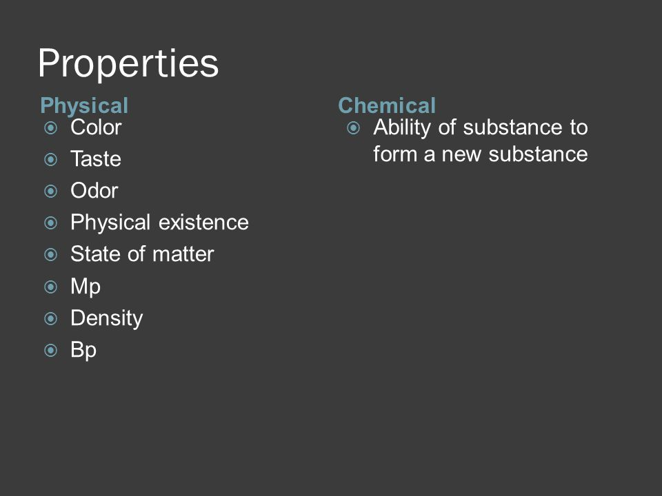 Properties PhysicalChemical  Color  Taste  Odor  Physical existence  State of matter  Mp  Density  Bp  Ability of substance to form a new substance
