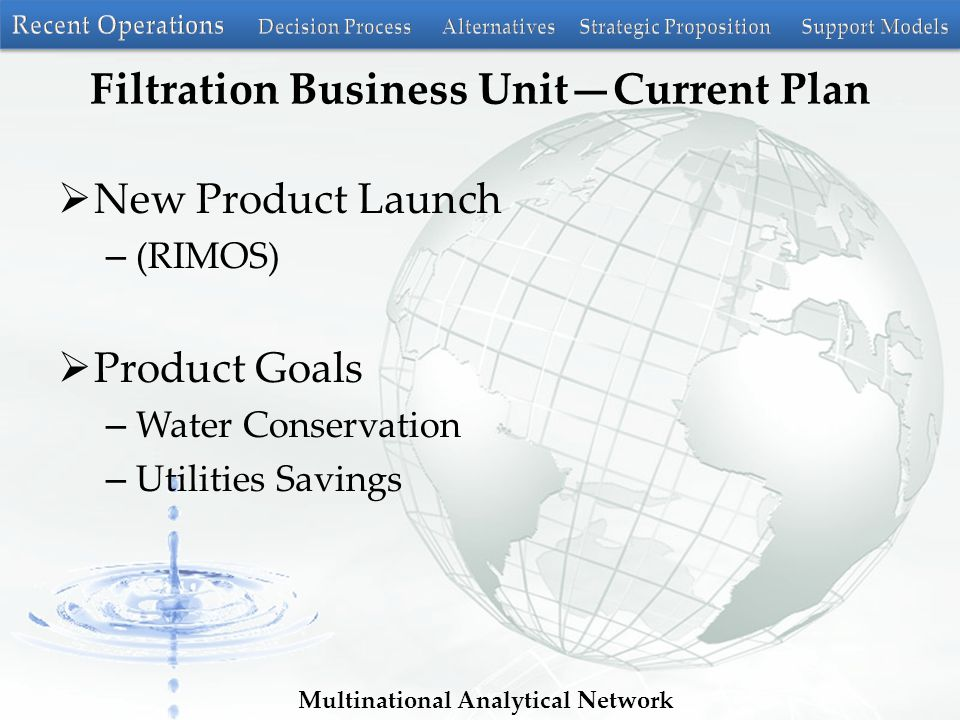 Multinational Analytical Network Filtration Business Unit—Current Plan  New Product Launch – (RIMOS)  Product Goals – Water Conservation – Utilities Savings