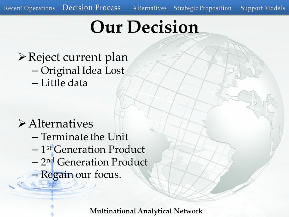 Multinational Analytical Network Our Decision  Reject current plan – Original Idea Lost – Little data  Alternatives – Terminate the Unit – 1 st Generation Product – 2 nd Generation Product – Regain our focus.