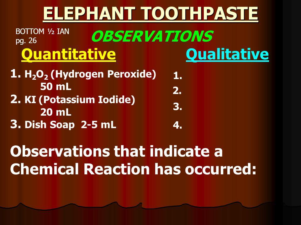 ELEPHANT TOOTHPASTE KI + H 2 O 2 H 2 O + O 2 + K - + I + KI H 2 O 2 + Soap Bottom ½ IAN pg.
