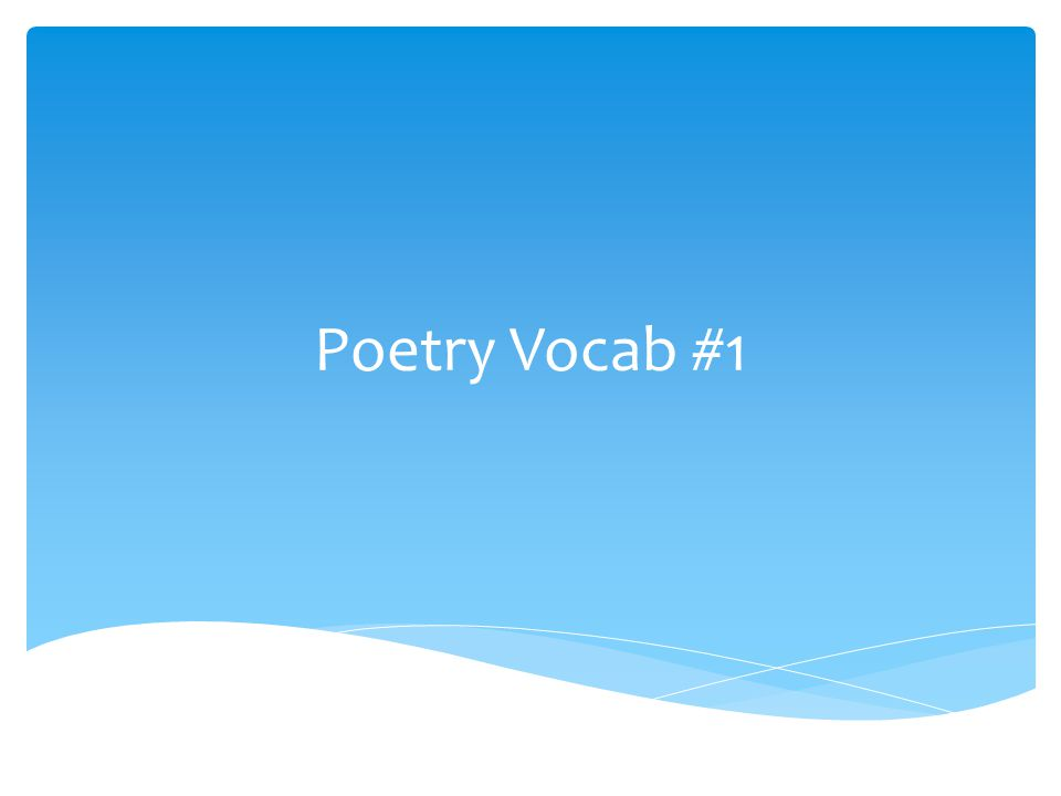 Poetry Vocab #1