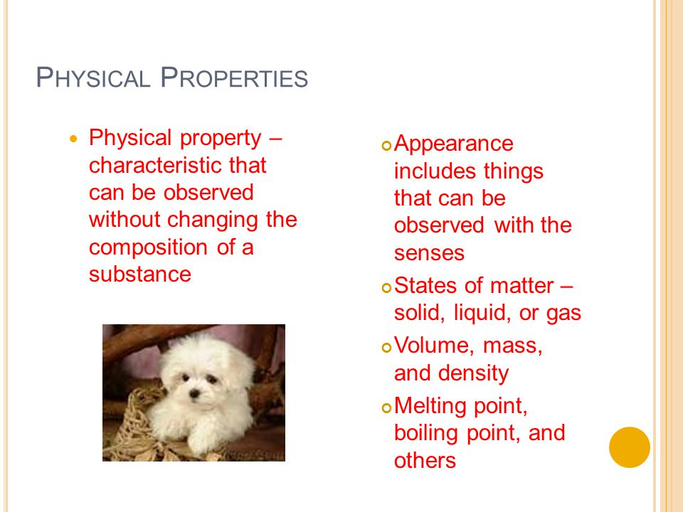P HYSICAL P ROPERTIES Physical property – characteristic that can be observed without changing the composition of a substance Appearance includes things that can be observed with the senses States of matter – solid, liquid, or gas Volume, mass, and density Melting point, boiling point, and others