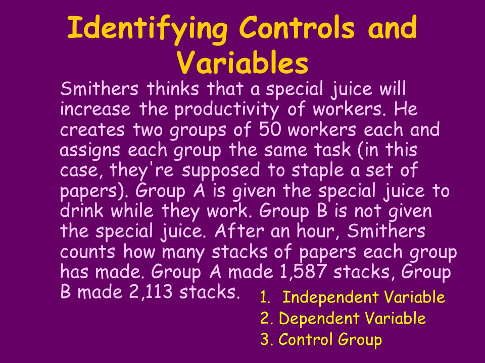 Identifying Controls and Variables Smithers thinks that a special juice will increase the productivity of workers. He creates two groups of 50 workers