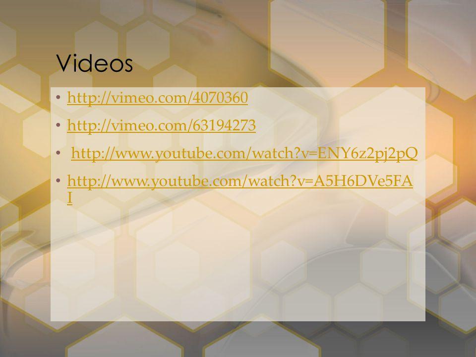 http://vimeo.com/4070360 http://vimeo.com/63194273 http://www.youtube.com/watch?v=ENY6z2pj2pQ http://www.youtube.com/watch?v=A5H6DVe5FA I http://www.y
