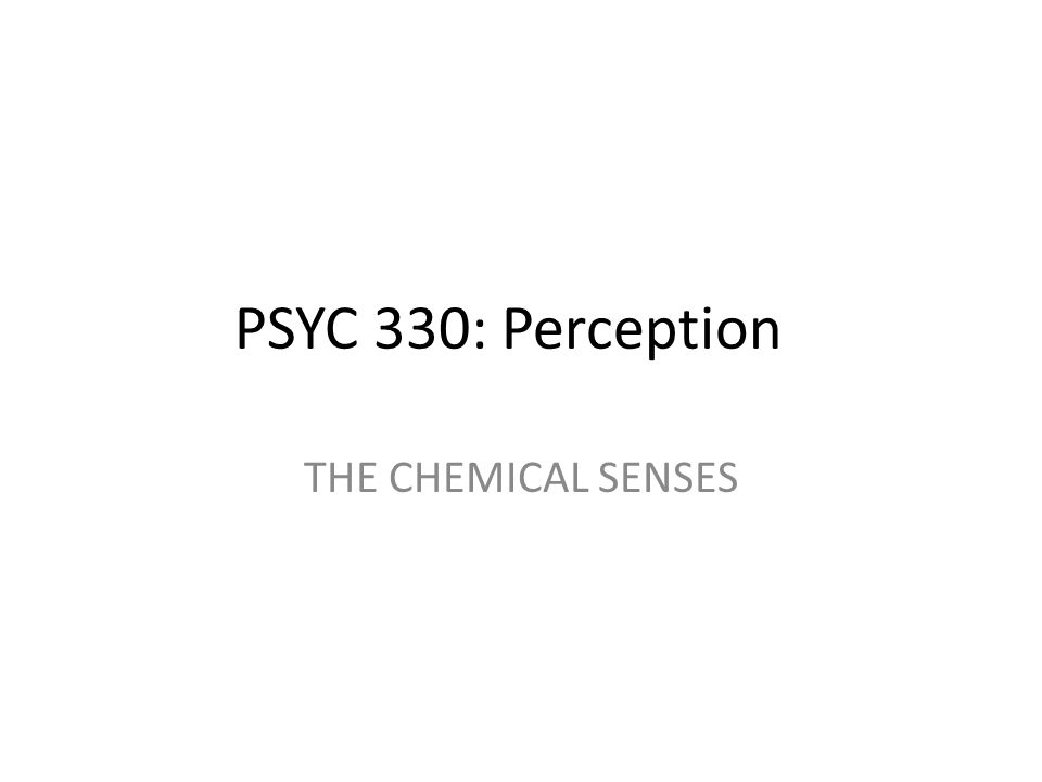 PSYC 330: Perception THE CHEMICAL SENSES