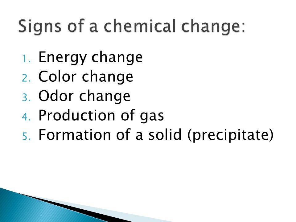 1.Energy change 2. Color change 3. Odor change 4.