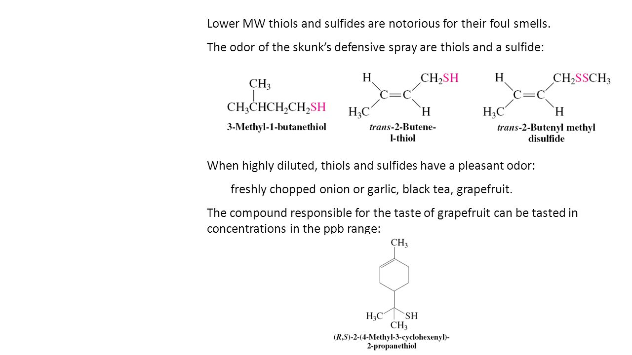 Lower MW thiols and sulfides are notorious for their foul smells. The odor of the skunk's defensive spray are thiols and a sulfide: When highly dilute