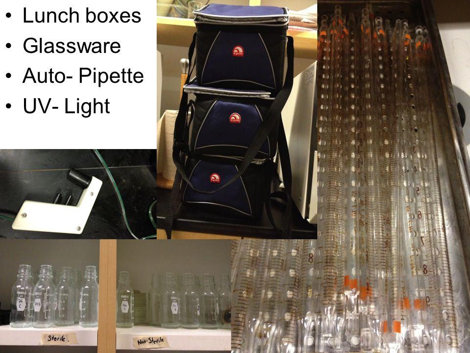 Lunch boxes Glassware Auto- Pipette UV- Light