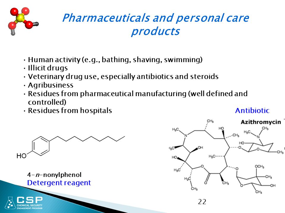 22 Human activity (e.g., bathing, shaving, swimming) Illicit drugs Veterinary drug use, especially antibiotics and steroids Agribusiness Residues from pharmaceutical manufacturing (well defined and controlled) Residues from hospitals 4-n-nonylphenol Detergent reagent Pharmaceuticals and personal care products Antibiotic