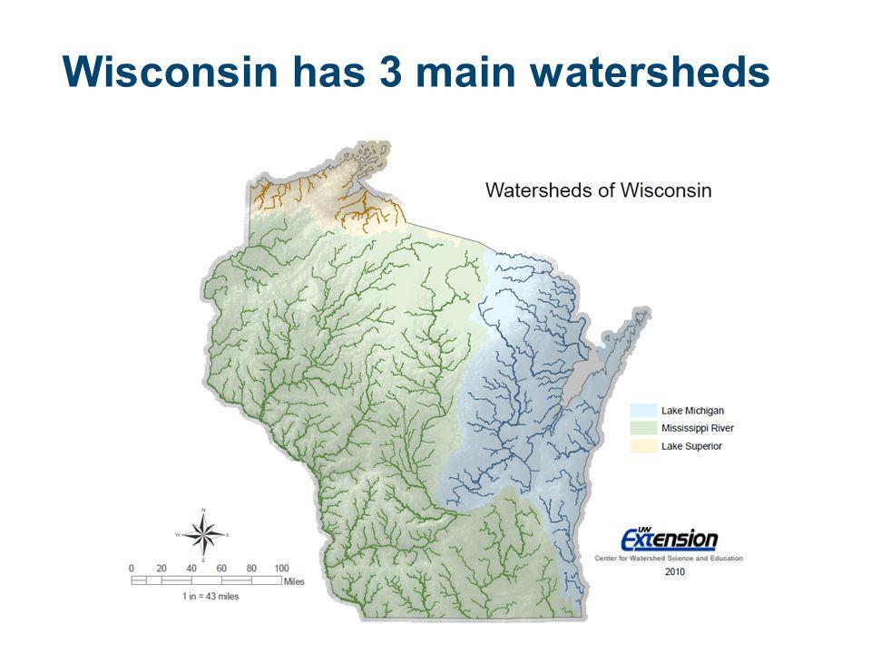 Wisconsin has 3 main watersheds