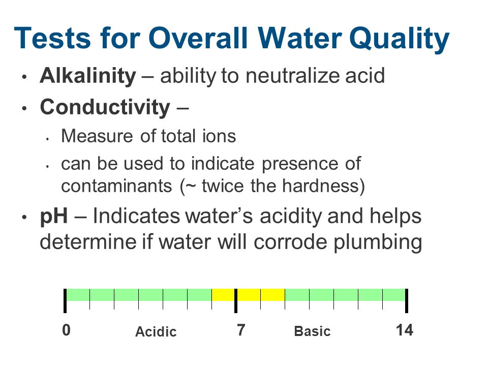 Tests for Overall Water Quality Alkalinity – ability to neutralize acid Conductivity – Measure of total ions can be used to indicate presence of contaminants (~ twice the hardness) pH – Indicates water's acidity and helps determine if water will corrode plumbing 7014 Acidic Basic