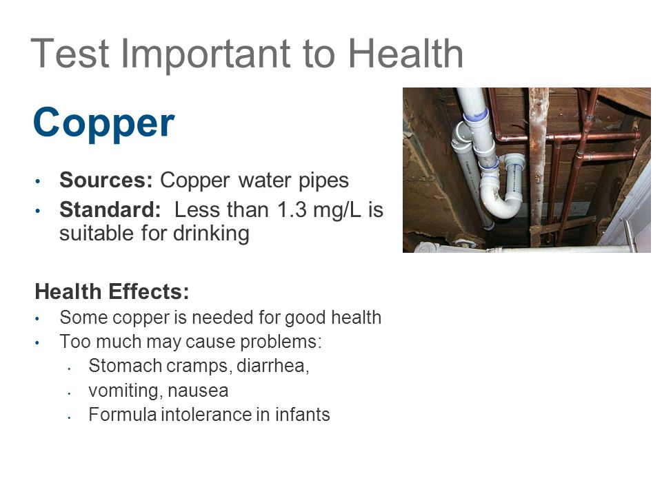 Sources: Copper water pipes Standard: Less than 1.3 mg/L is suitable for drinking Health Effects: Some copper is needed for good health Too much may cause problems: Stomach cramps, diarrhea, vomiting, nausea Formula intolerance in infants Test Important to Health Copper