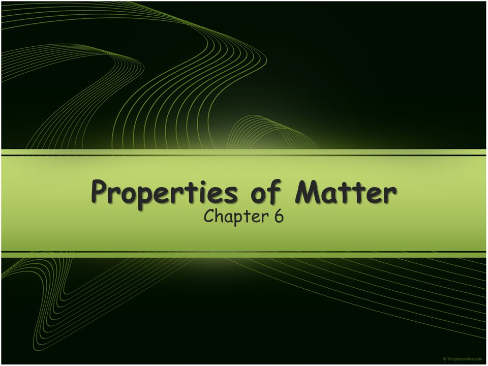 Many other properties of matter are determined by the characteristics of the particles themselves.