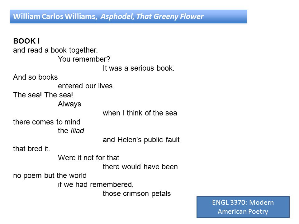 William Carlos Williams, Asphodel, That Greeny Flower BOOK I and read a book together.