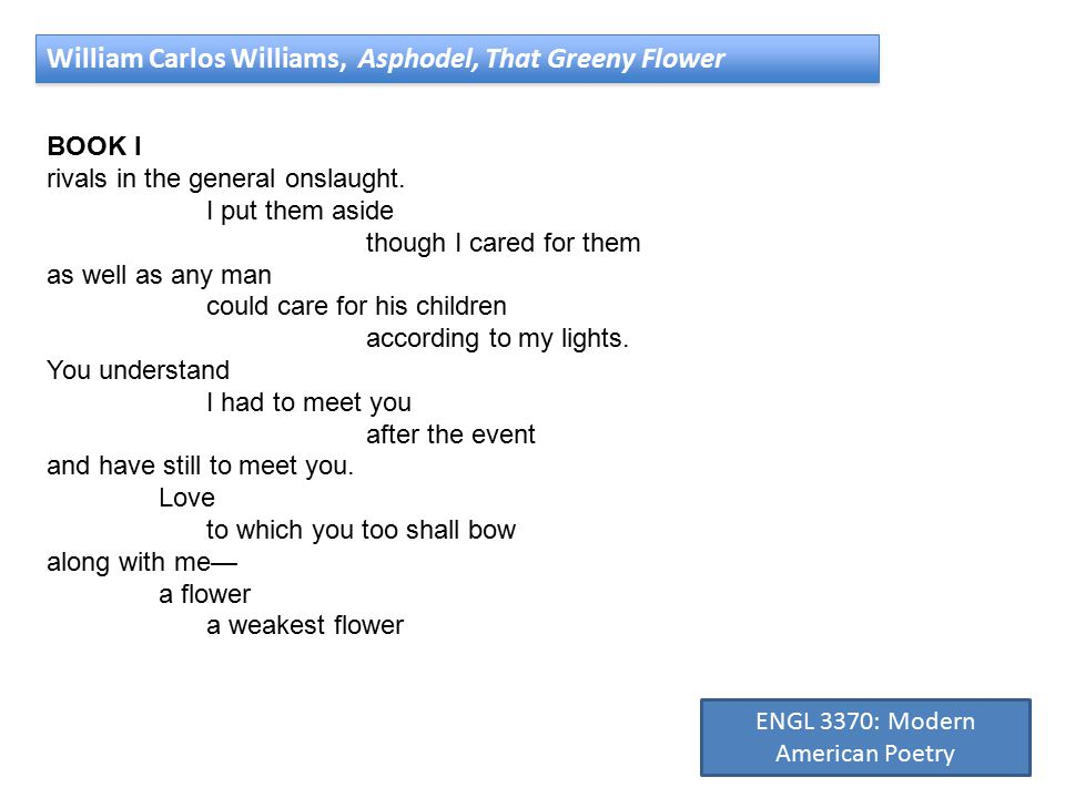 William Carlos Williams, Asphodel, That Greeny Flower BOOK I rivals in the general onslaught.