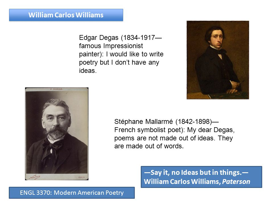 Edgar Degas (1834-1917— famous Impressionist painter): I would like to write poetry but I don't have any ideas.