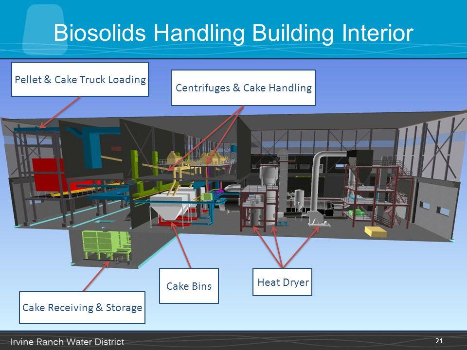 21 Centrifuges & Cake Handling Pellet & Cake Truck Loading Heat Dryer Cake Bins Cake Receiving & Storage Biosolids Handling Building Interior