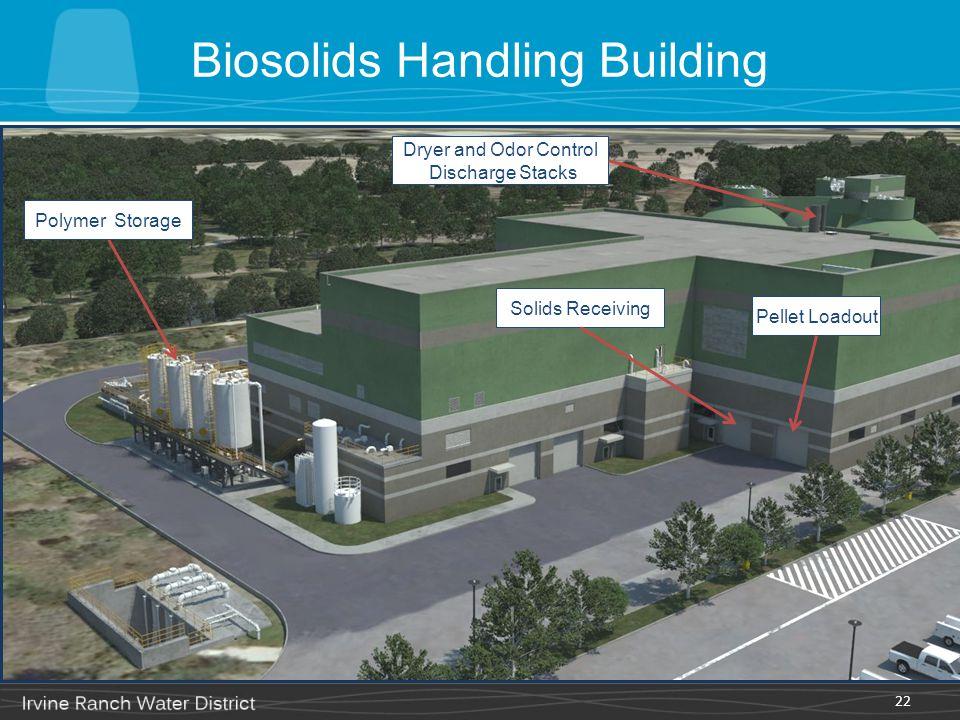 Biosolids Handling Building 22 Dryer and Odor Control Discharge Stacks Polymer Storage Solids Receiving Pellet Loadout