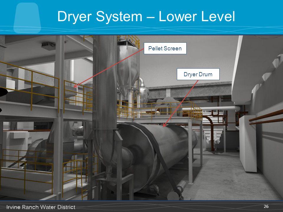 Dryer System – Lower Level 26 Dryer Drum Pellet Screen