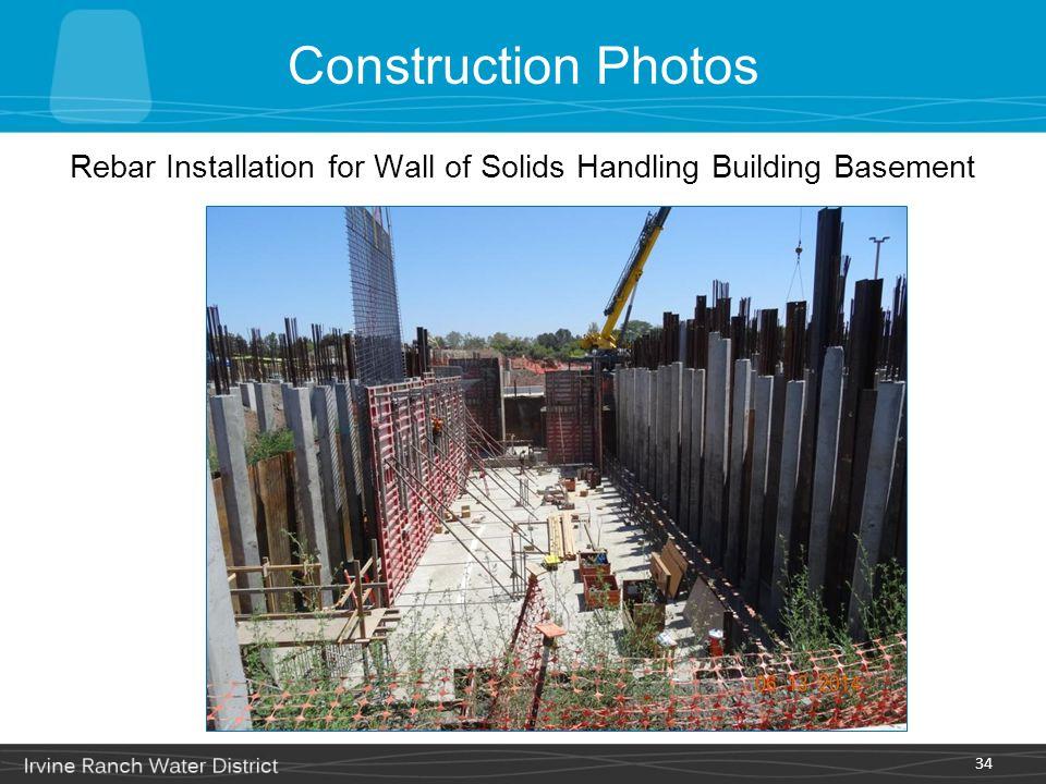 34 Rebar Installation for Wall of Solids Handling Building Basement Construction Photos