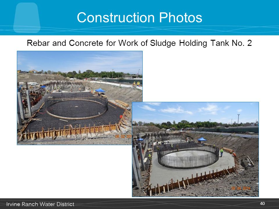 Construction Photos 40 Rebar and Concrete for Work of Sludge Holding Tank No. 2