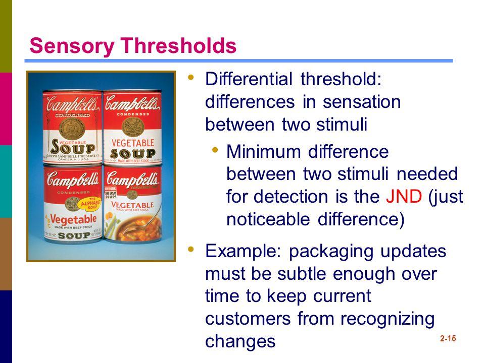 2-15 Sensory Thresholds Differential threshold: differences in sensation between two stimuli Minimum difference between two stimuli needed for detecti