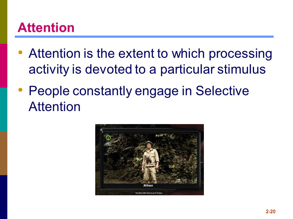 Attention Attention is the extent to which processing activity is devoted to a particular stimulus People constantly engage in Selective Attention 2-2