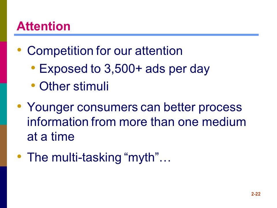2-22 Attention Competition for our attention Exposed to 3,500+ ads per day Other stimuli Younger consumers can better process information from more th