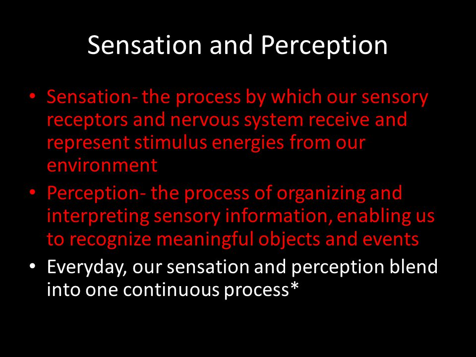 Transduction Transduction- conversion of one form of energy into another – The transforming of stimulus energies, such as sights, sounds, and smells, into neural impulses our brain can interpret Psychophysics- the study of relationships between the physical characteristics of stimuli, such as their intensity, and our psychological experience of them *