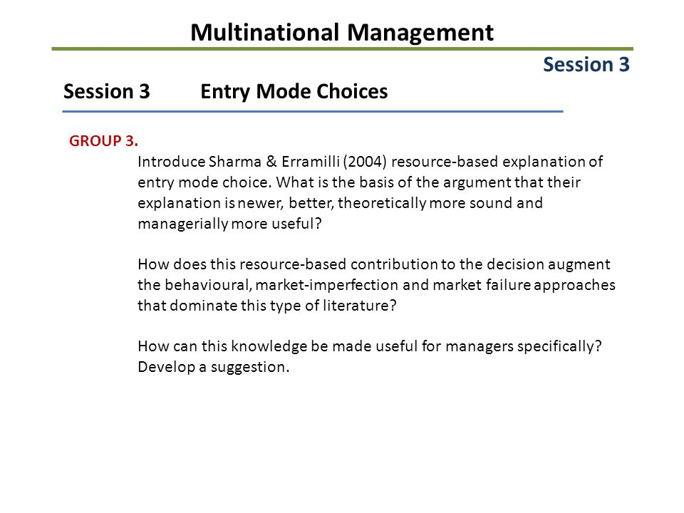 Multinational Management Session 3Entry Mode Choices GROUP 3.