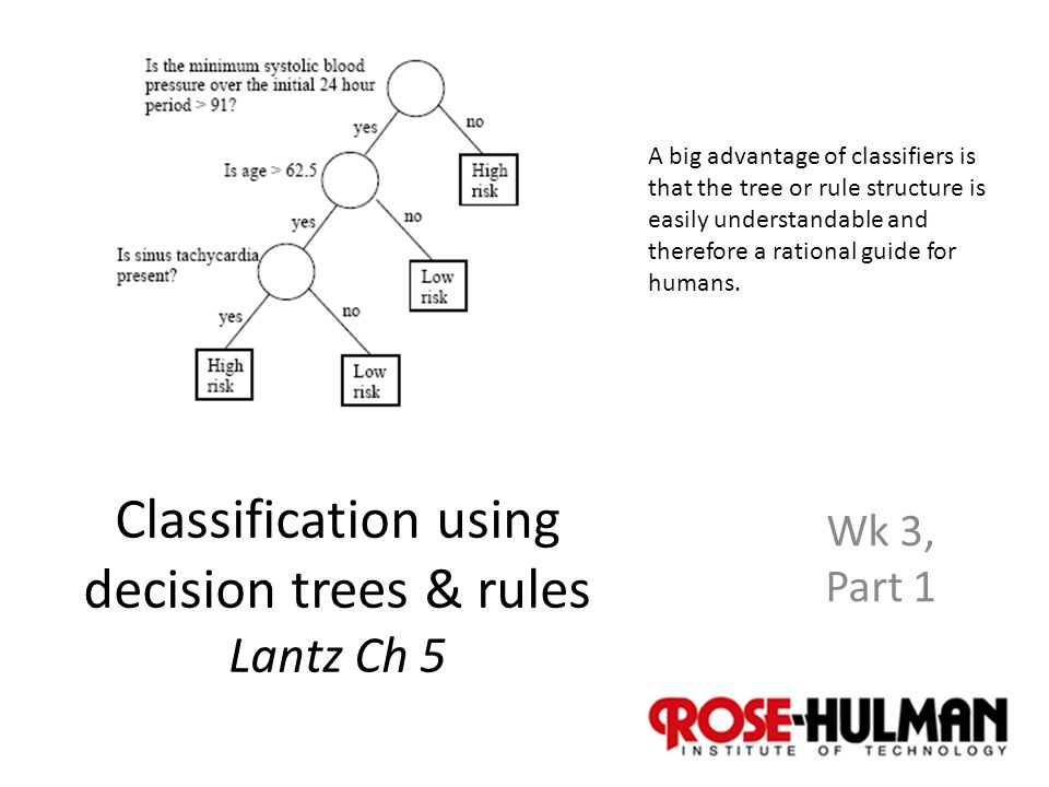 1 Classification using decision trees & rules Lantz Ch 5 Wk 3, Part 1 A big advantage of classifiers is that the tree or rule structure is easily understandable and therefore a rational guide for humans.