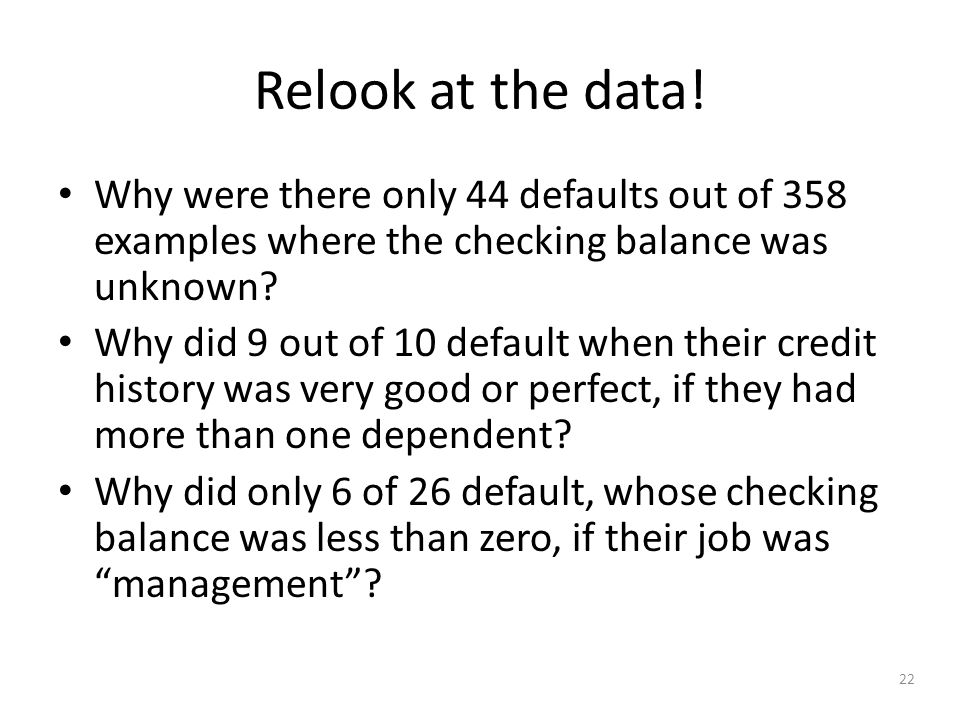 22 Relook at the data.
