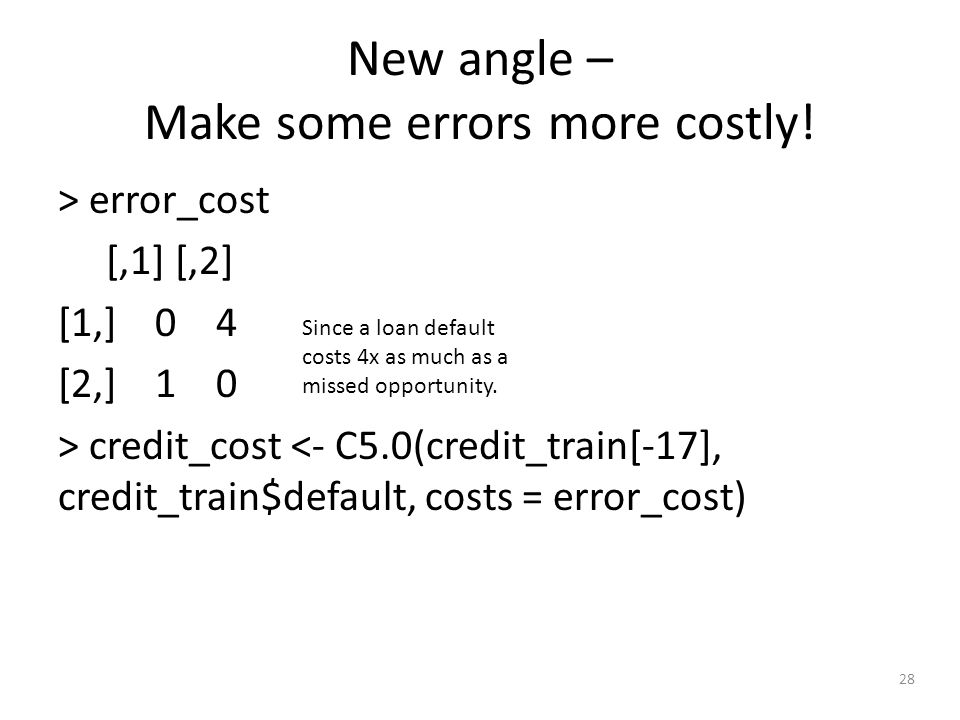 28 New angle – Make some errors more costly.