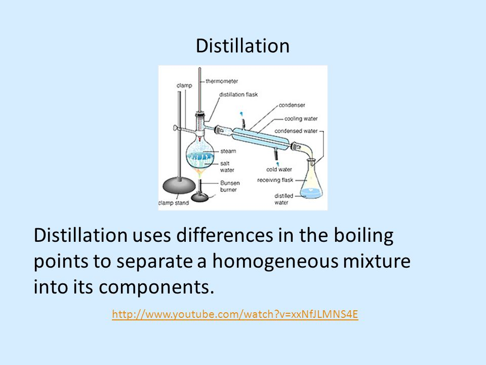 Distillation Distillation uses differences in the boiling points to separate a homogeneous mixture into its components. http://www.youtube.com/watch?v