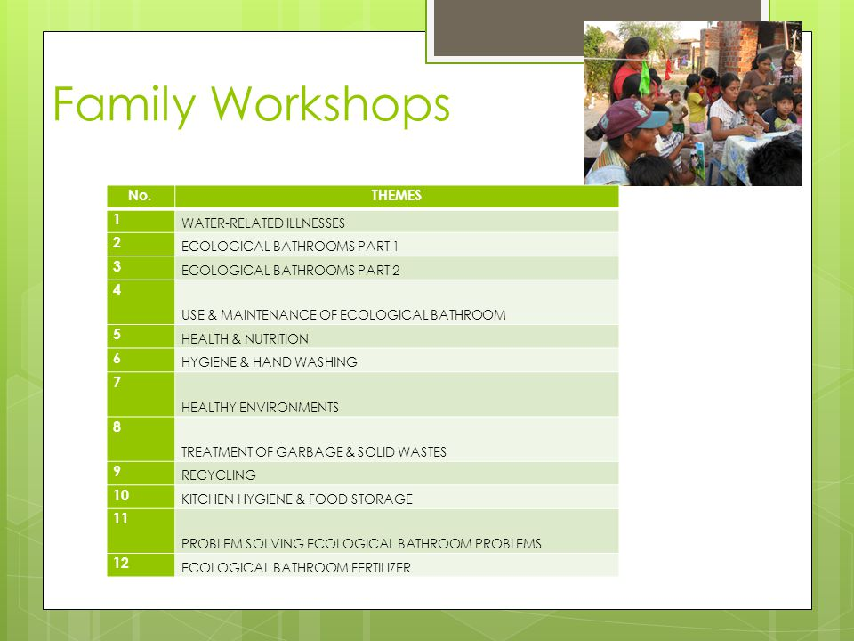 Family Workshops No.THEMES 1 WATER-RELATED ILLNESSES 2 ECOLOGICAL BATHROOMS PART 1 3 ECOLOGICAL BATHROOMS PART 2 4 USE & MAINTENANCE OF ECOLOGICAL BATHROOM 5 HEALTH & NUTRITION 6 HYGIENE & HAND WASHING 7 HEALTHY ENVIRONMENTS 8 TREATMENT OF GARBAGE & SOLID WASTES 9 RECYCLING 10 KITCHEN HYGIENE & FOOD STORAGE 11 PROBLEM SOLVING ECOLOGICAL BATHROOM PROBLEMS 12 ECOLOGICAL BATHROOM FERTILIZER
