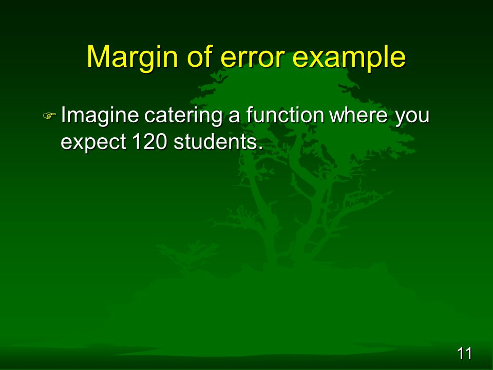 11 Margin of error example F Imagine catering a function where you expect 120 students.
