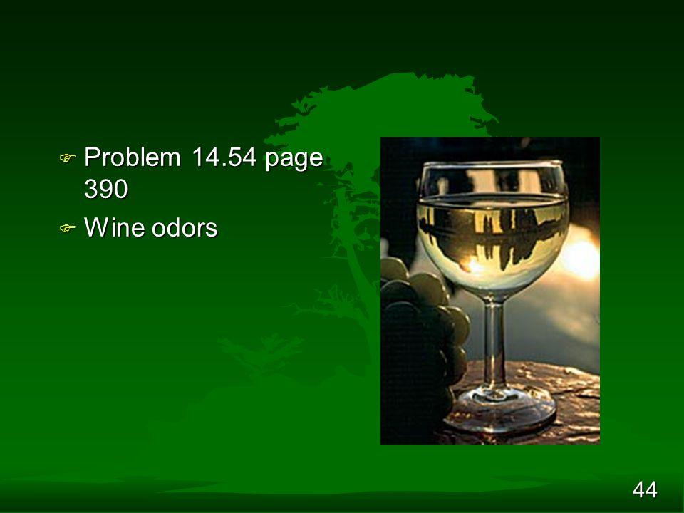 44 F Problem 14.54 page 390 F Wine odors