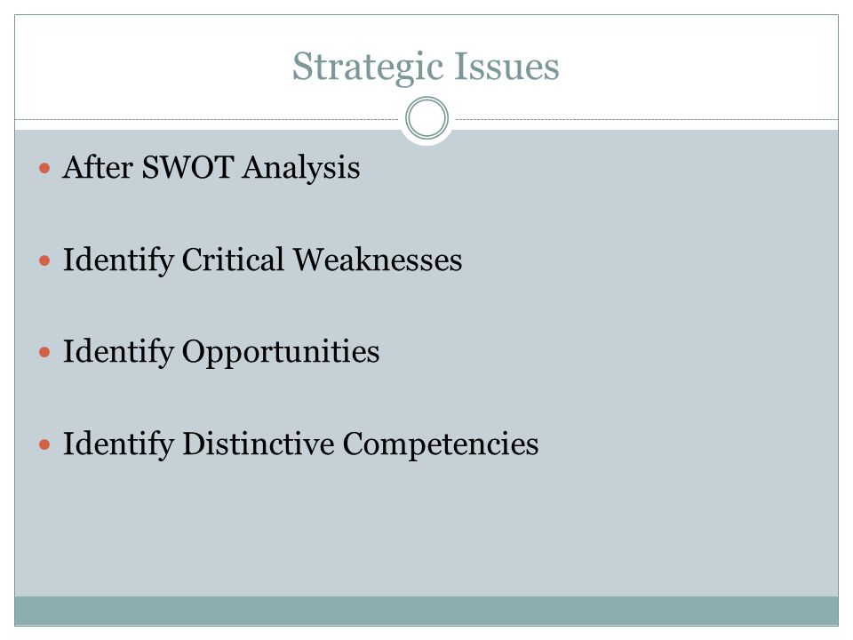 Strategic Issues After SWOT Analysis Identify Critical Weaknesses Identify Opportunities Identify Distinctive Competencies