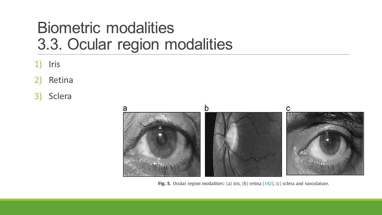 Biometric modalities 3.3. Ocular region modalities 1)Iris 2)Retina 3)Sclera