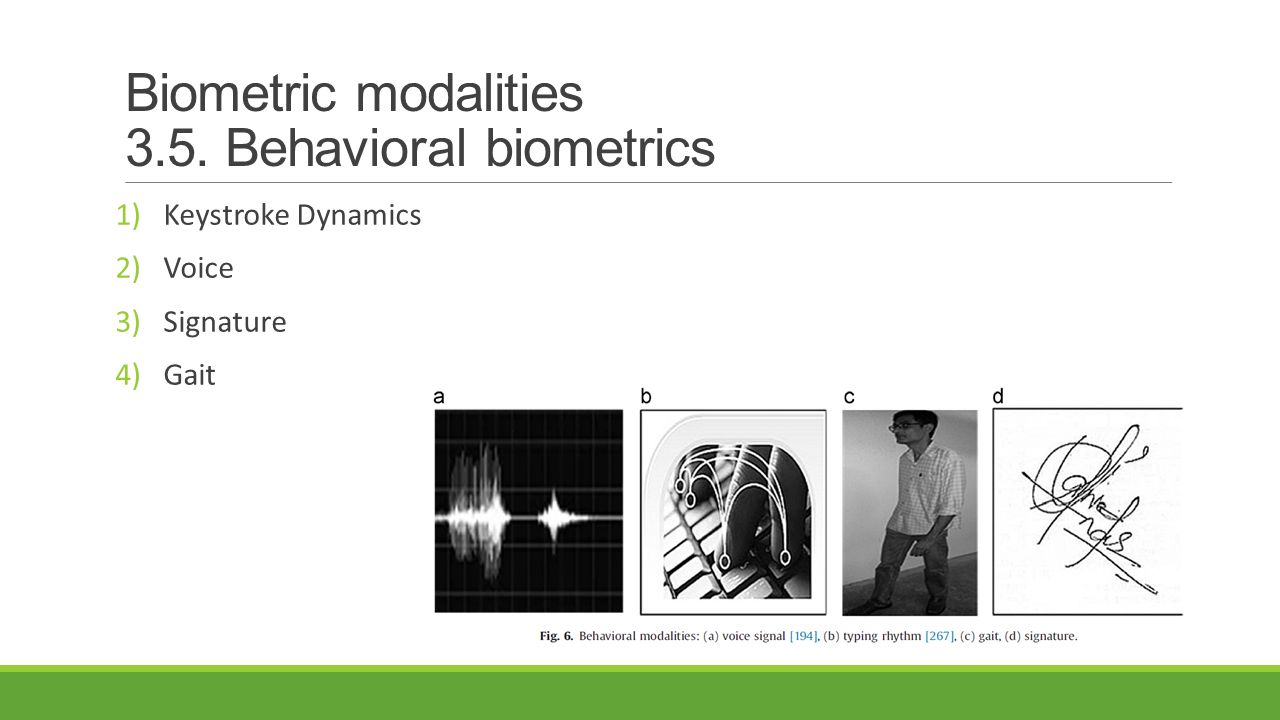 Biometric modalities 3.5. Behavioral biometrics 1)Keystroke Dynamics 2)Voice 3)Signature 4)Gait