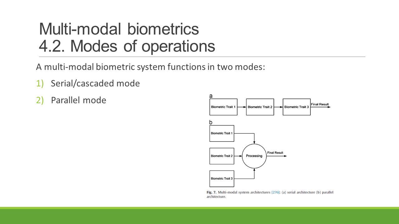 Multi-modal biometrics 4.2. Modes of operations A multi-modal biometric system functions in two modes: 1)Serial/cascaded mode 2)Parallel mode