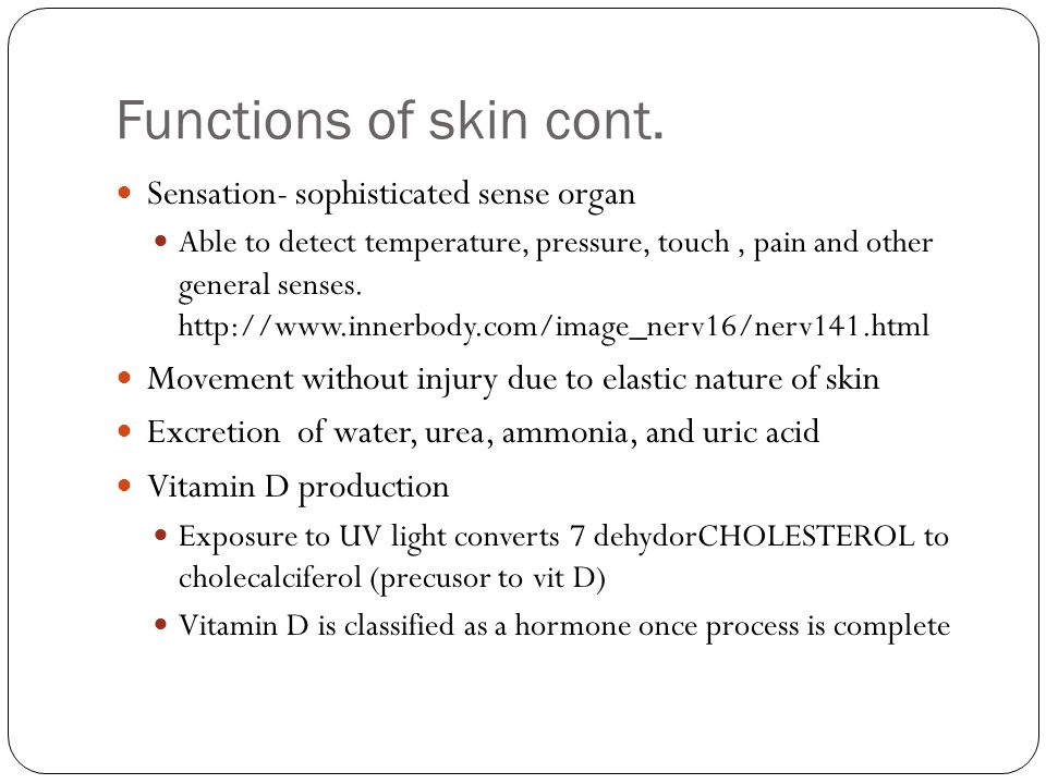 Functions of skin cont.